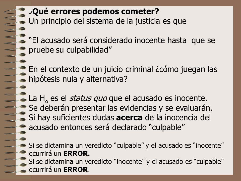 . ¿ Qué errores podemos cometer? Un principio del sistema de la justicia es que El acusado será considerado inocente hasta que se pruebe su culpabilid