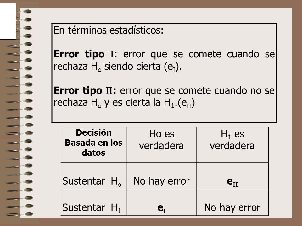 En términos estadísticos: Error tipo : error que se comete cuando se rechaza H o siendo cierta (e ). Error tipo : error que se comete cuando no se rec