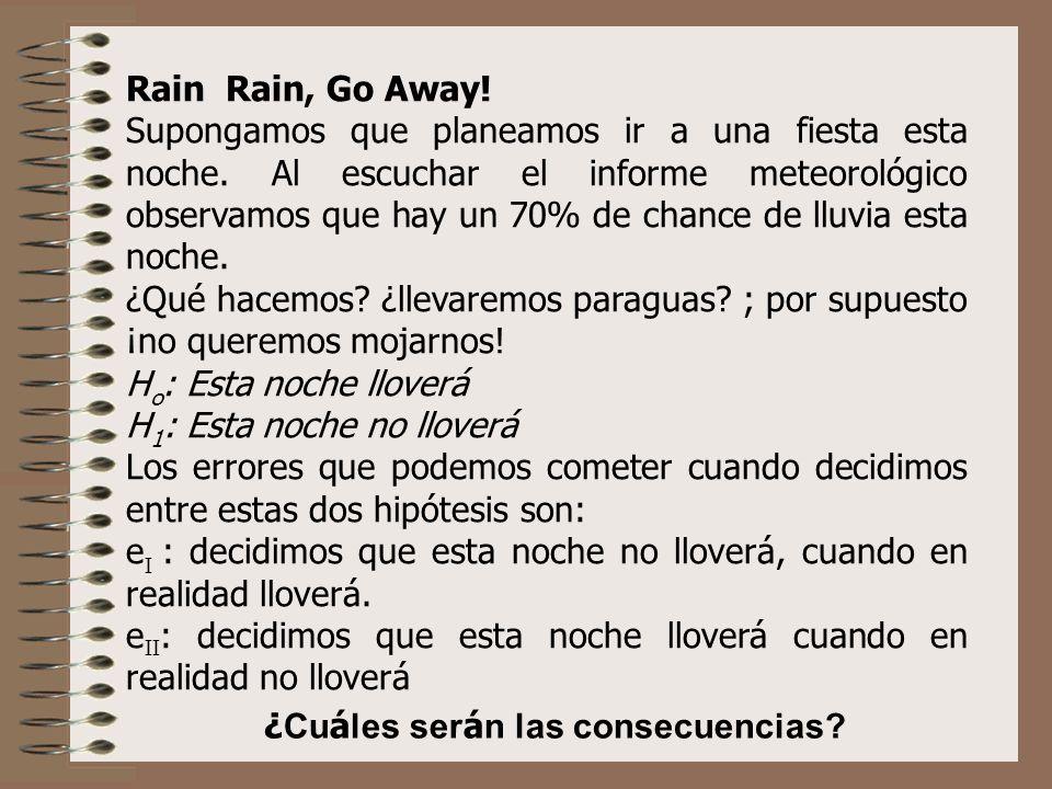 Rain Rain, Go Away! Supongamos que planeamos ir a una fiesta esta noche. Al escuchar el informe meteorológico observamos que hay un 70% de chance de l