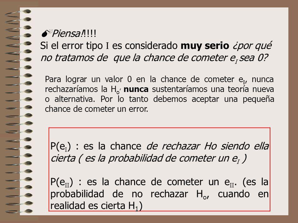 Piensa!!!!! Si el error tipo es considerado muy serio ¿por qué no tratamos de que la chance de cometer e sea 0? Para lograr un valor 0 en la chance de