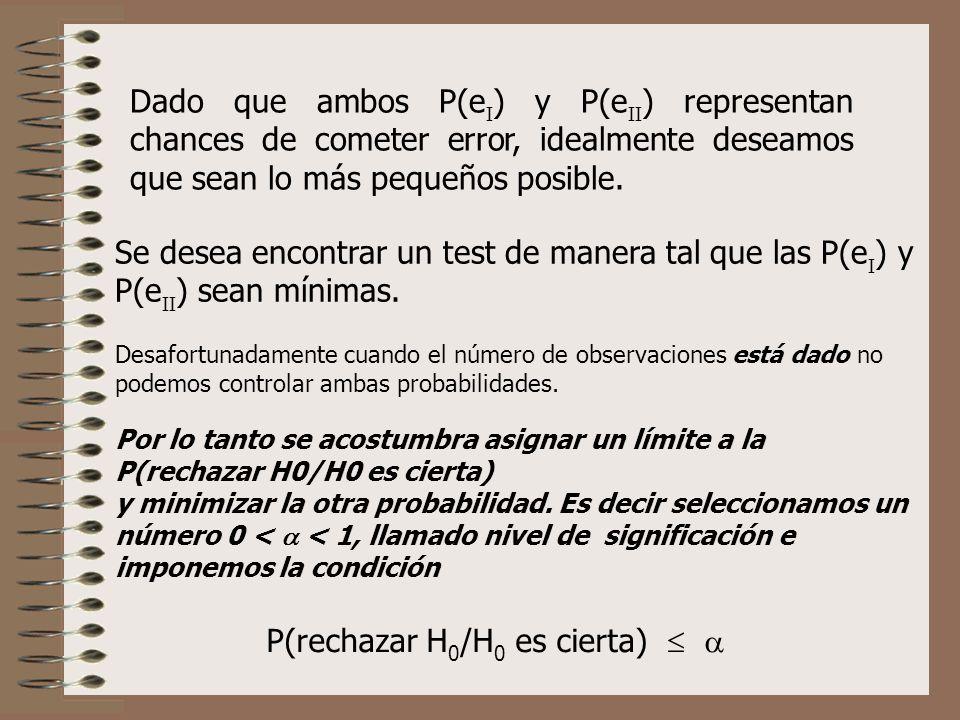 Dado que ambos P(e ) y P(e ) representan chances de cometer error, idealmente deseamos que sean lo más pequeños posible. Se desea encontrar un test de