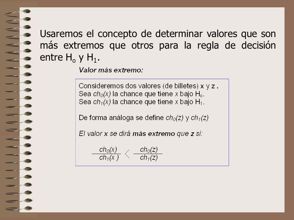 Usaremos el concepto de determinar valores que son más extremos que otros para la regla de decisión entre H o y H 1.