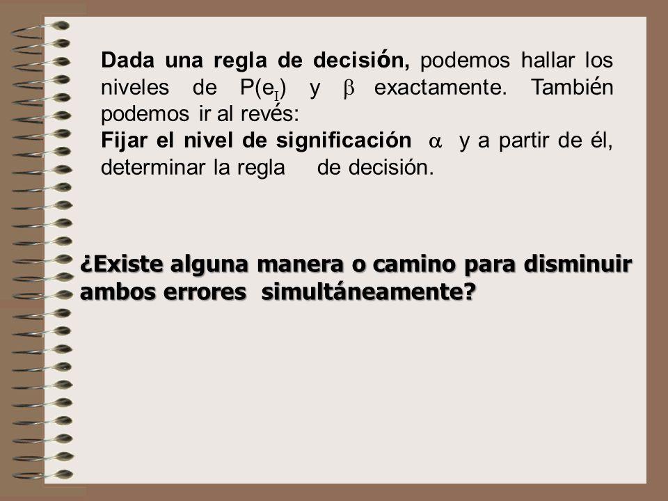 Dada una regla de decisi ó n, podemos hallar los niveles de P(e ) y exactamente. Tambi é n podemos ir al rev é s: Fijar el nivel de significación y a