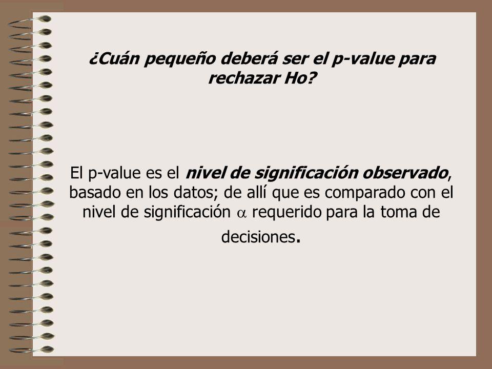 ¿Cuán pequeño deberá ser el p-value para rechazar Ho? El p-value es el nivel de significación observado, basado en los datos; de allí que es comparado