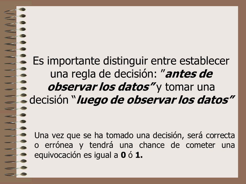 Es importante distinguir entre establecer una regla de decisión: antes de observar los datos y tomar una decisión luego de observar los datos Una vez que se ha tomado una decisión, será correcta o errónea y tendrá una chance de cometer una equivocación es igual a 0 ó 1.
