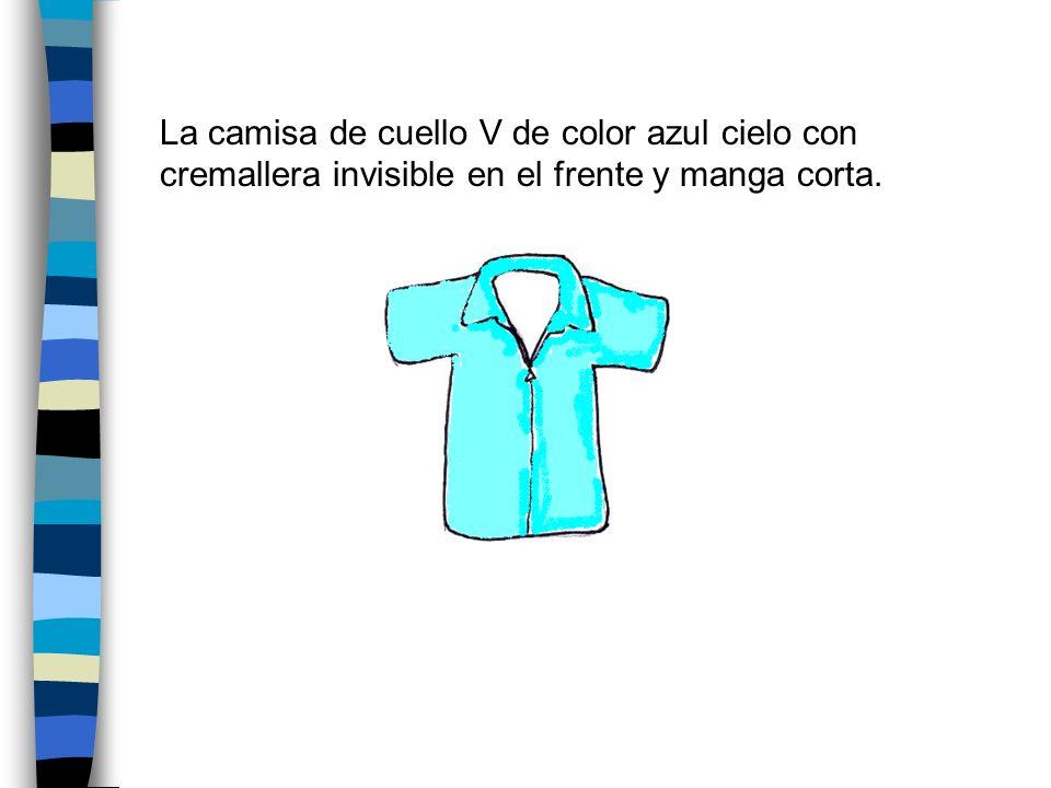 La camisa de cuello V de color azul cielo con cremallera invisible en el frente y manga corta.