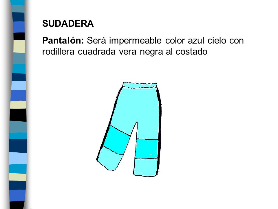 SUDADERA Pantalón: Será impermeable color azul cielo con rodillera cuadrada vera negra al costado