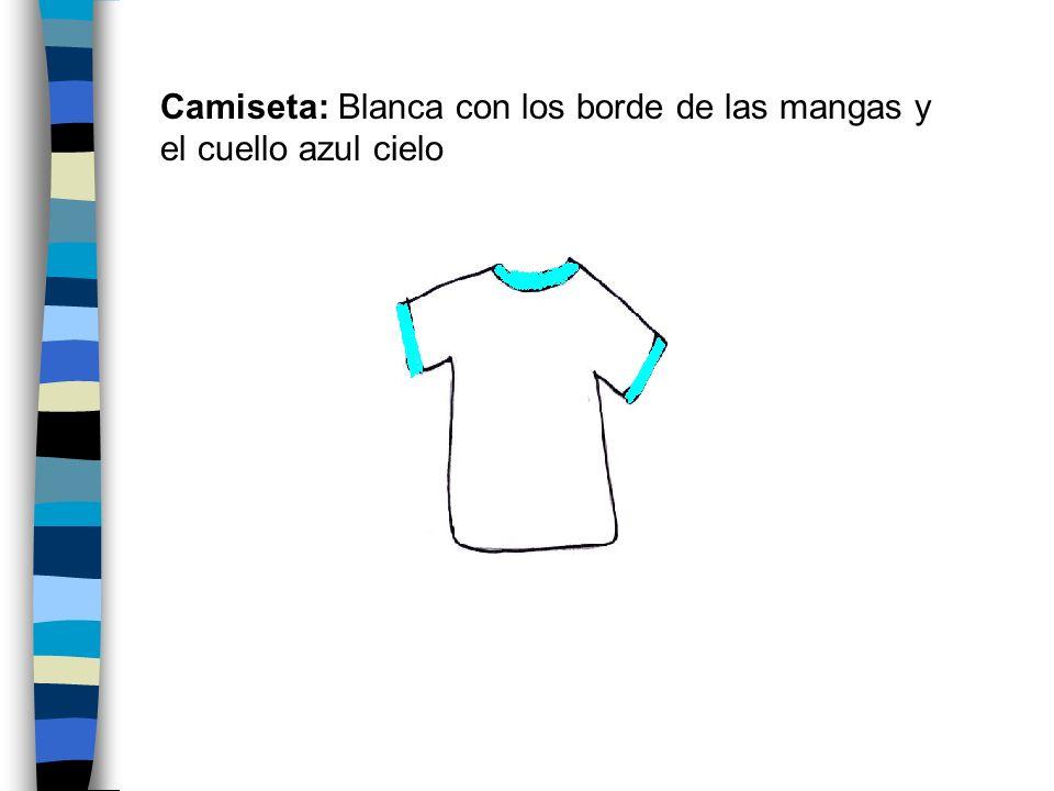 Camiseta: Blanca con los borde de las mangas y el cuello azul cielo