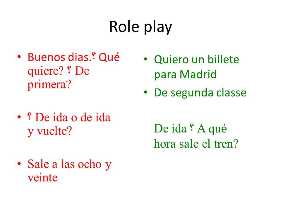 Role play Buenos dias. ؟ Qué quiere. ؟ De primera.