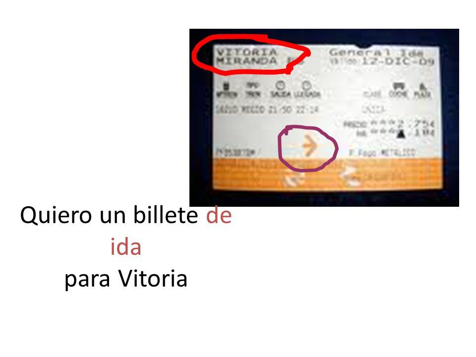 Hack /Hartsdown La estacion Buenas dias Senor Ask for a single to Barcelona Say first class.Ask if the train is direct.
