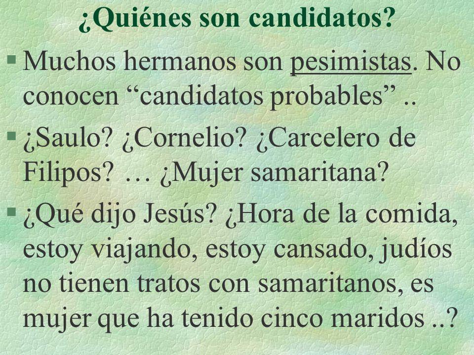 ¿Quiénes son candidatos.§Muchos hermanos son pesimistas.