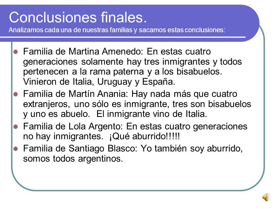 Conclusiones de los gráficos de barra: En los gráficos de barra podemos ver mejor la diferencia entre argentinos y extranjeros. En la 4º generación, l