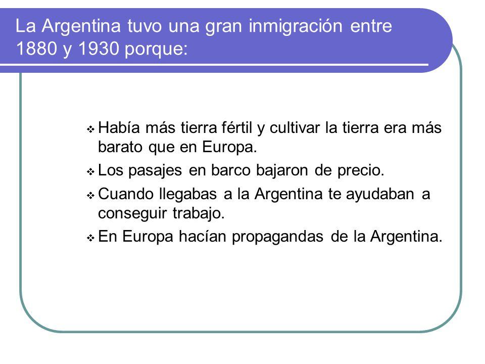 Leímos varios textos y sacamos las siguientes conclusiones: La mayor cantidad de inmigrantes fueron: en 1º lugar, italianos; 2º, españoles; 3º, polaco