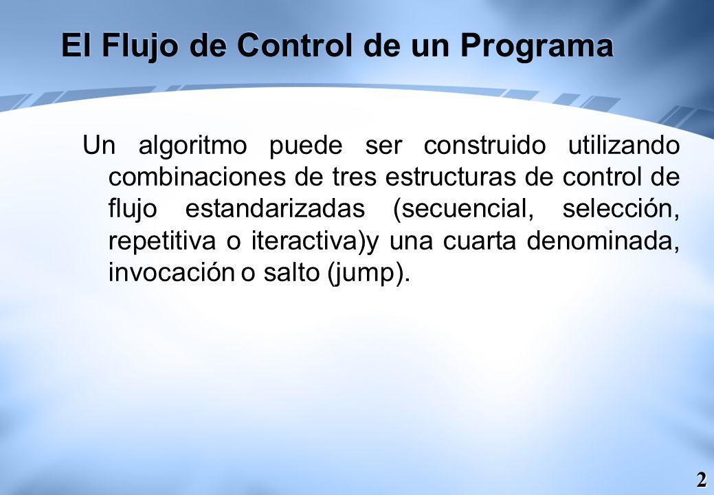 3 El Flujo de Control de un Programa La sentencias de selección son: Si (IF) Según –sea (SWITCH)