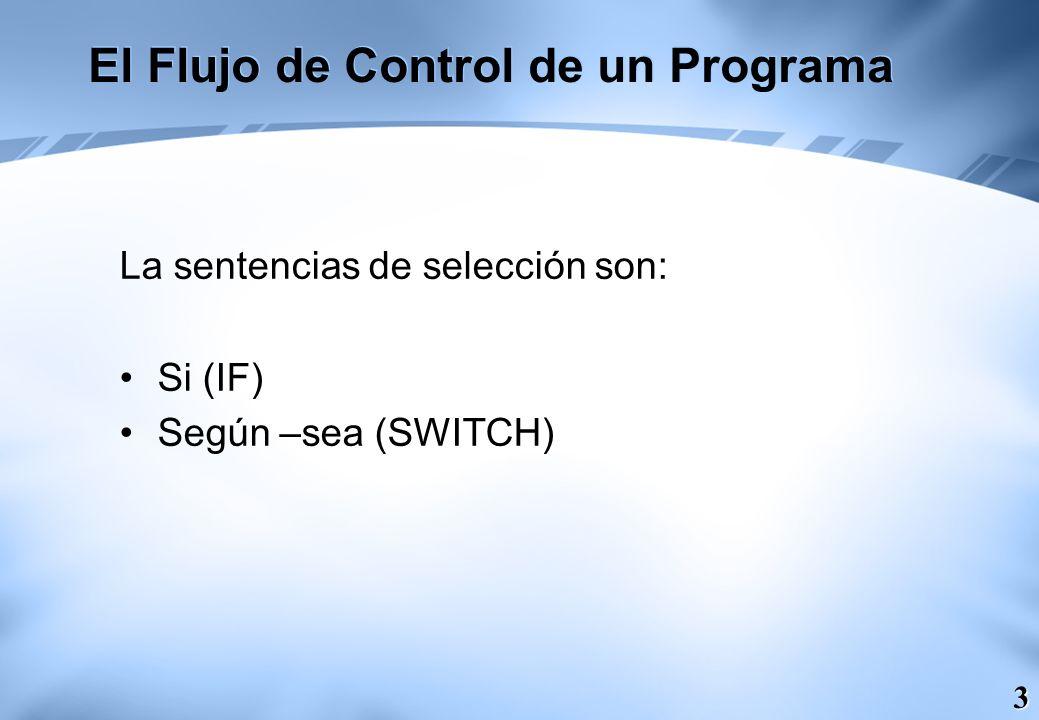 14 La sentencia IR – A (GOTO) El flujo de control de un algoritmo es siempre secuencial, excepto cuando la estructuras de control estudiadas anteriormente realizan transferencias de control no secuenciales.