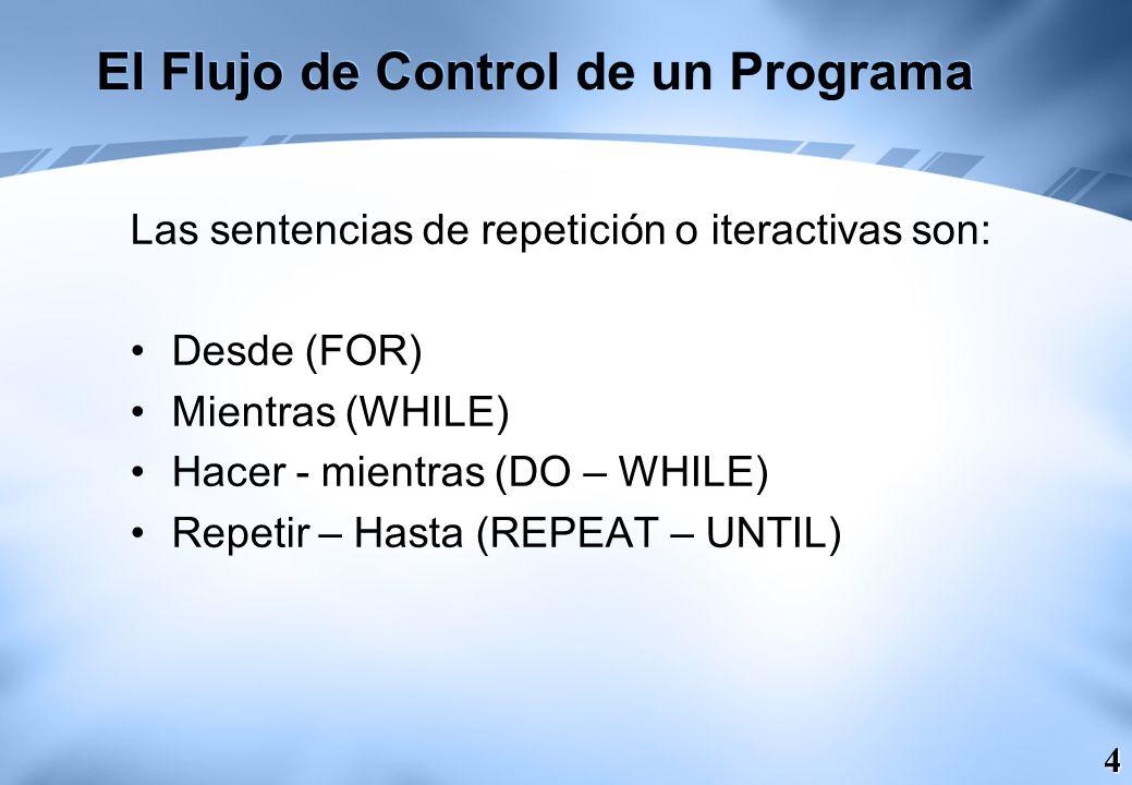 5 El Flujo de Control de un Programa La sentencias de salto o bifurcación: Romper (BREAK) Continuar (CONTINUE) Ir – a (GOTO) Volver (RETURN) Lanzar (THROW)