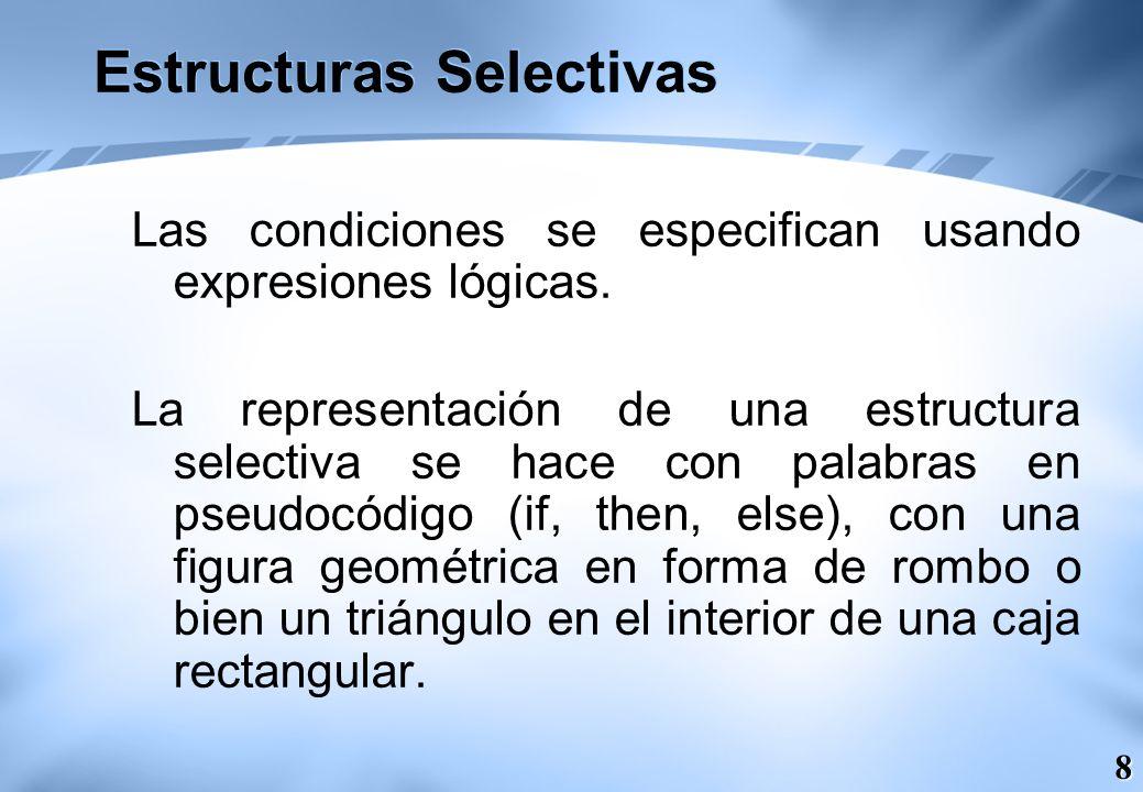 9 Estructuras Selectivas Las estructuras selectivas o alternativas pueden ser: Simples Dobles Múltiples