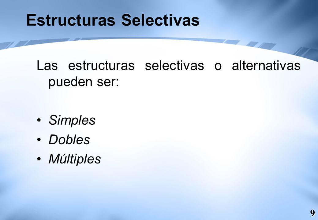 10 Alternativa Simple (SI-ENTONCES / IF – THEN) La estructura alternativa simple si-entonces (en inglés if-then) ejecuta una determinada acción cuando se cumple una determinada condición