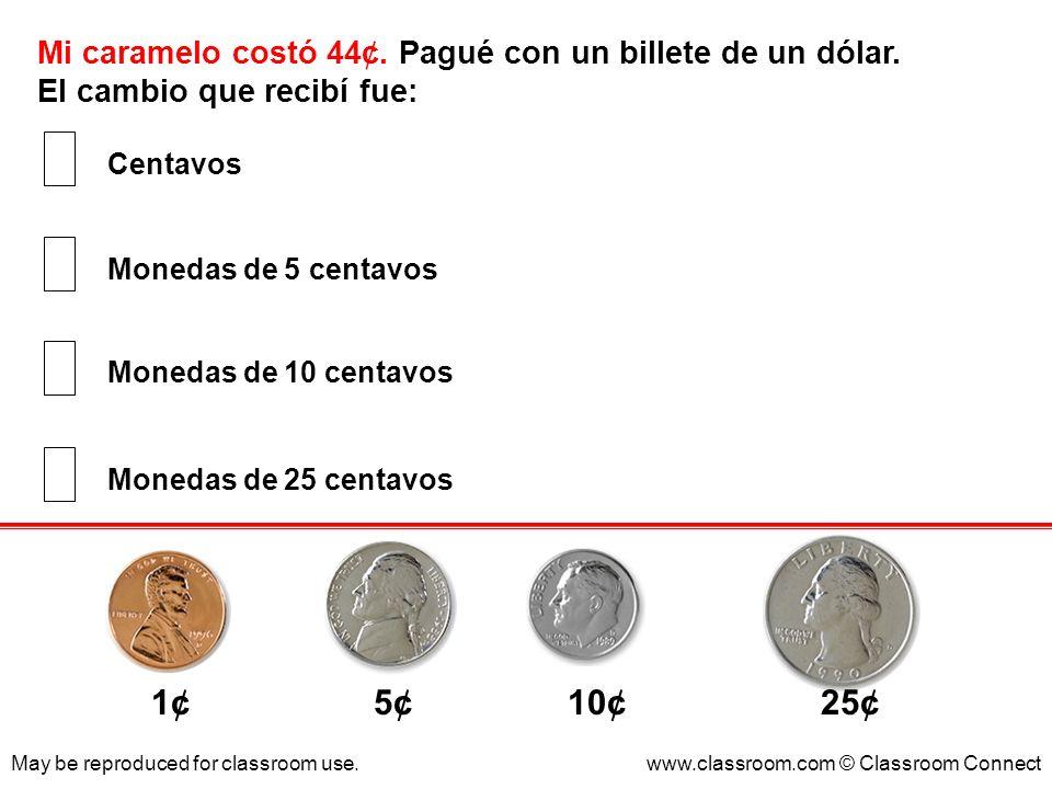 Mi caramelo costó 44¢. Pagué con un billete de un dólar. El cambio que recibí fue: May be reproduced for classroom use.www.classroom.com © Classroom C