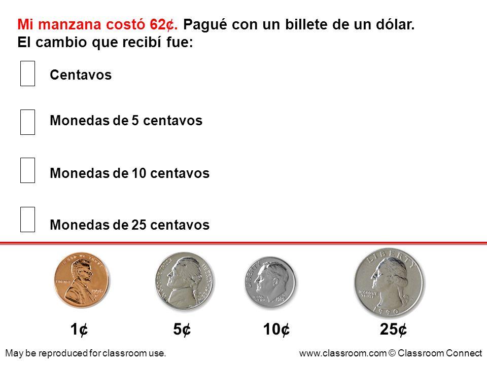 Mi manzana costó 62¢. Pagué con un billete de un dólar. El cambio que recibí fue: May be reproduced for classroom use.www.classroom.com © Classroom Co