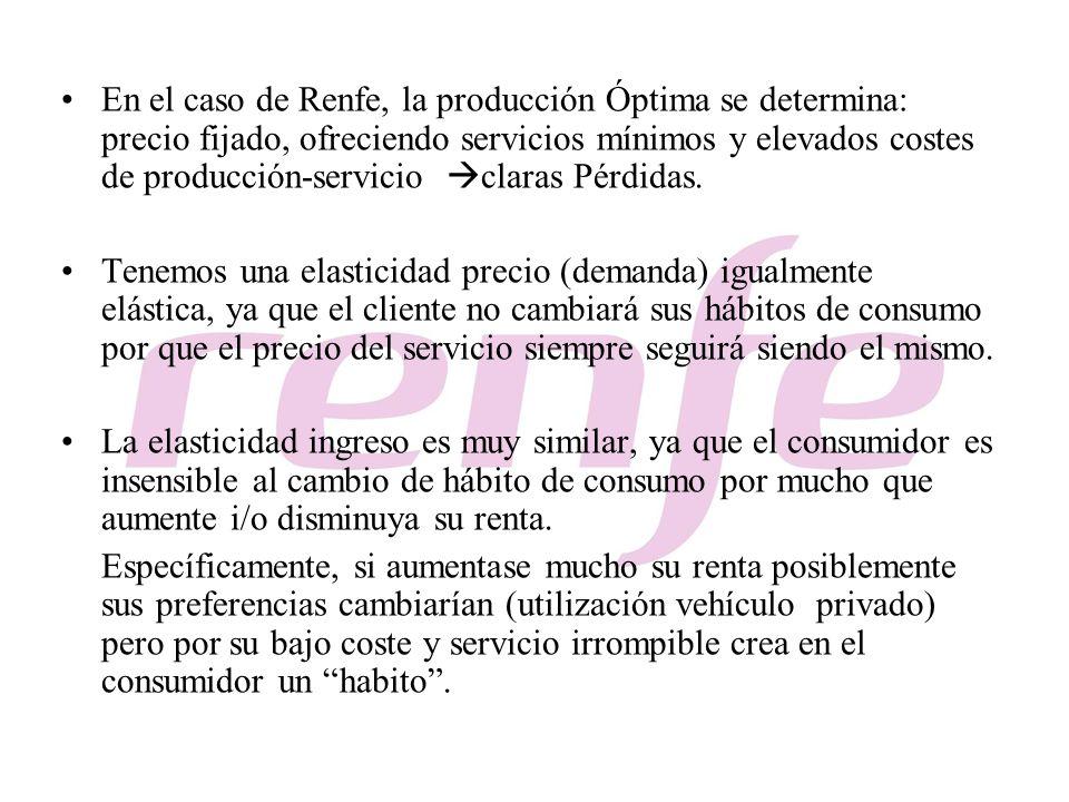 En el caso de Renfe, la producción Óptima se determina: precio fijado, ofreciendo servicios mínimos y elevados costes de producción-servicio claras Pé