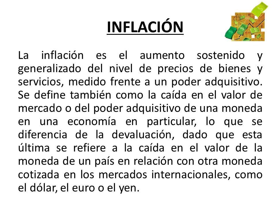 INFLACIÓN La inflación es el aumento sostenido y generalizado del nivel de precios de bienes y servicios, medido frente a un poder adquisitivo. Se def