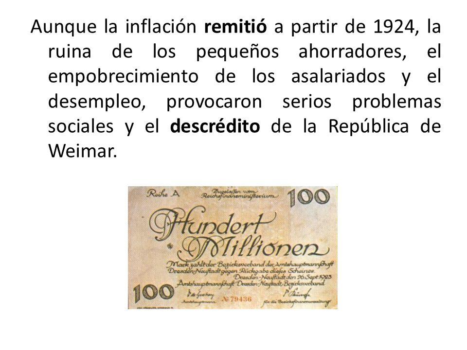 Aunque la inflación remitió a partir de 1924, la ruina de los pequeños ahorradores, el empobrecimiento de los asalariados y el desempleo, provocaron s