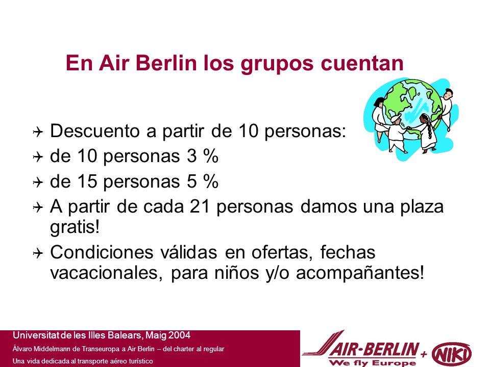 Universitat de les Illes Balears, Maig 2004 Álvaro Middelmann de Transeuropa a Air Berlin – del charter al regular Una vida dedicada al transporte aéreo turístico En Air Berlin los grupos cuentan Descuento a partir de 10 personas: de 10 personas 3 % de 15 personas 5 % A partir de cada 21 personas damos una plaza gratis.