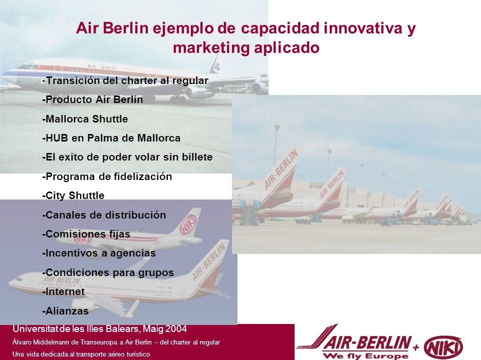 Universitat de les Illes Balears, Maig 2004 Álvaro Middelmann de Transeuropa a Air Berlin – del charter al regular Una vida dedicada al transporte aéreo turístico En Air Berlin reservas Online para agencias con toda la comisión