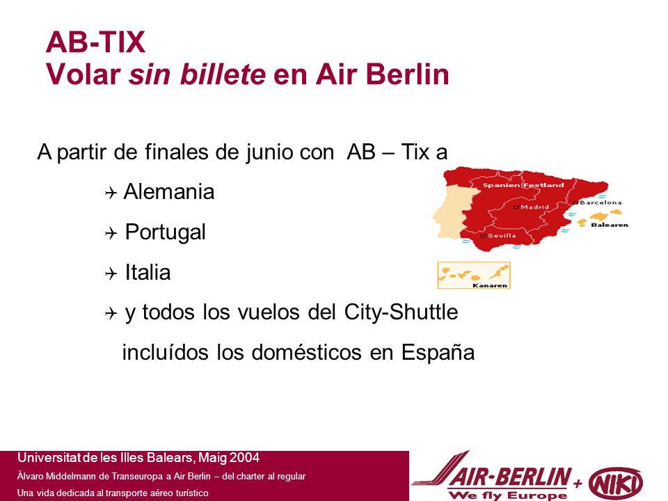 Universitat de les Illes Balears, Maig 2004 Álvaro Middelmann de Transeuropa a Air Berlin – del charter al regular Una vida dedicada al transporte aéreo turístico Nuestra presentación, su instrumento de venta