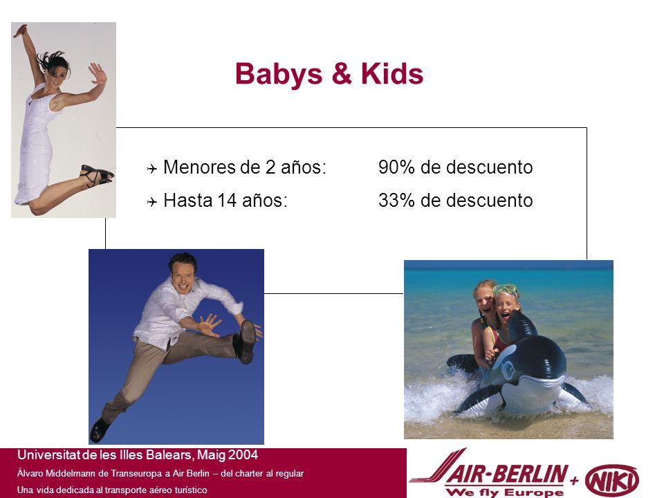 Universitat de les Illes Balears, Maig 2004 Álvaro Middelmann de Transeuropa a Air Berlin – del charter al regular Una vida dedicada al transporte aéreo turístico Babys & Kids Menores de 2 años:90% de descuento Hasta 14 años:33% de descuento