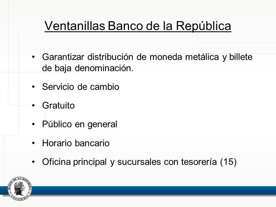 Ventanillas Banco de la República Garantizar distribución de moneda metálica y billete de baja denominación. Servicio de cambio Gratuito Público en ge