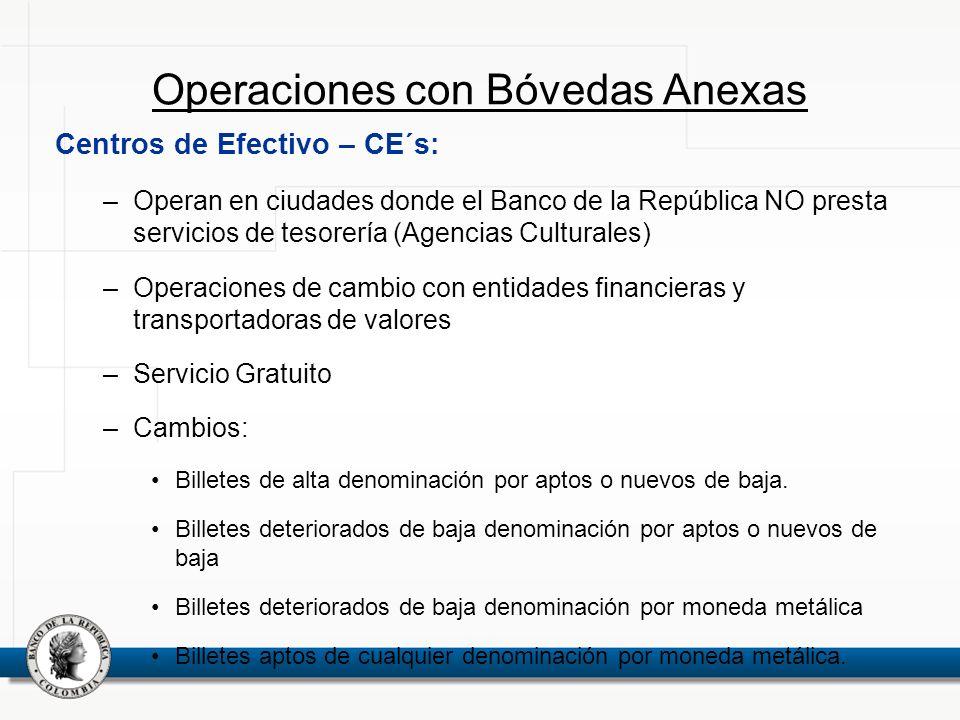 Operaciones con Bóvedas Anexas Centros de Efectivo – CE´s: –Operan en ciudades donde el Banco de la República NO presta servicios de tesorería (Agenci