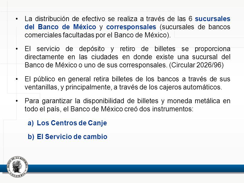 La distribución de efectivo se realiza a través de las 6 sucursales del Banco de México y corresponsales (sucursales de bancos comerciales facultadas