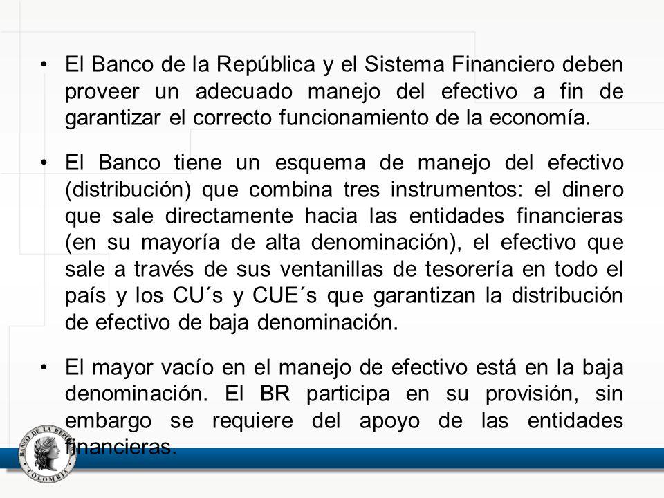 El Banco de la República y el Sistema Financiero deben proveer un adecuado manejo del efectivo a fin de garantizar el correcto funcionamiento de la ec