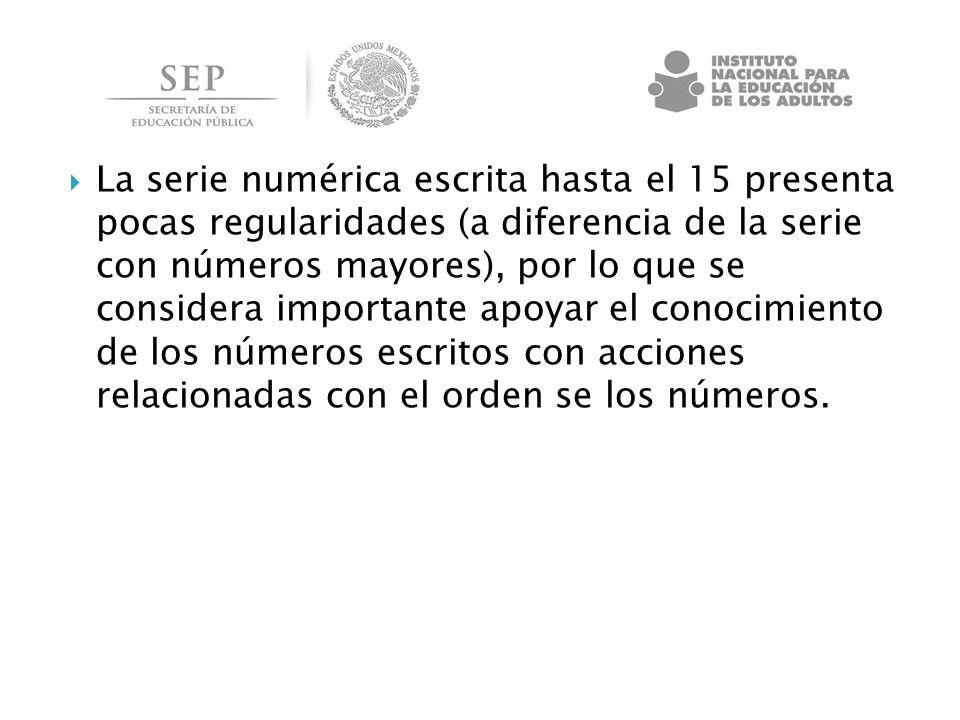 La serie numérica escrita hasta el 15 presenta pocas regularidades (a diferencia de la serie con números mayores), por lo que se considera importante