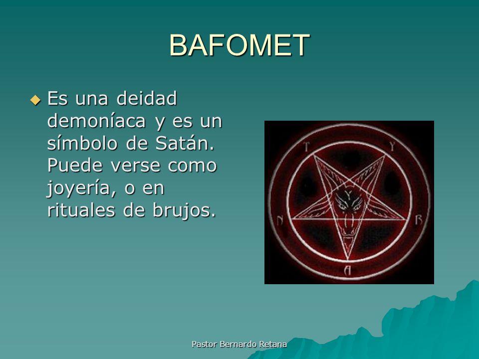 BAFOMET Es una deidad demoníaca y es un símbolo de Satán. Puede verse como joyería, o en rituales de brujos. Es una deidad demoníaca y es un símbolo d
