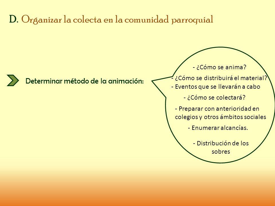 D. Organizar la colecta en la comunidad parroquial Determinar método de la animación: - ¿Cómo se anima? - ¿Cómo se distribuirá el material? - Eventos