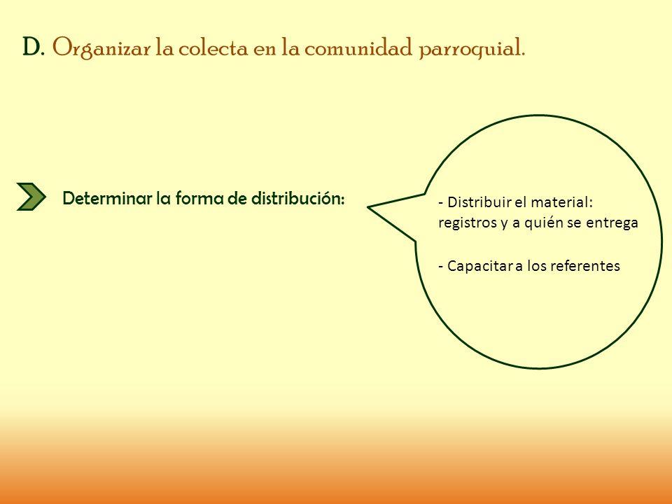 D. Organizar la colecta en la comunidad parroquial. Determinar la forma de distribución: - Distribuir el material: registros y a quién se entrega - Ca