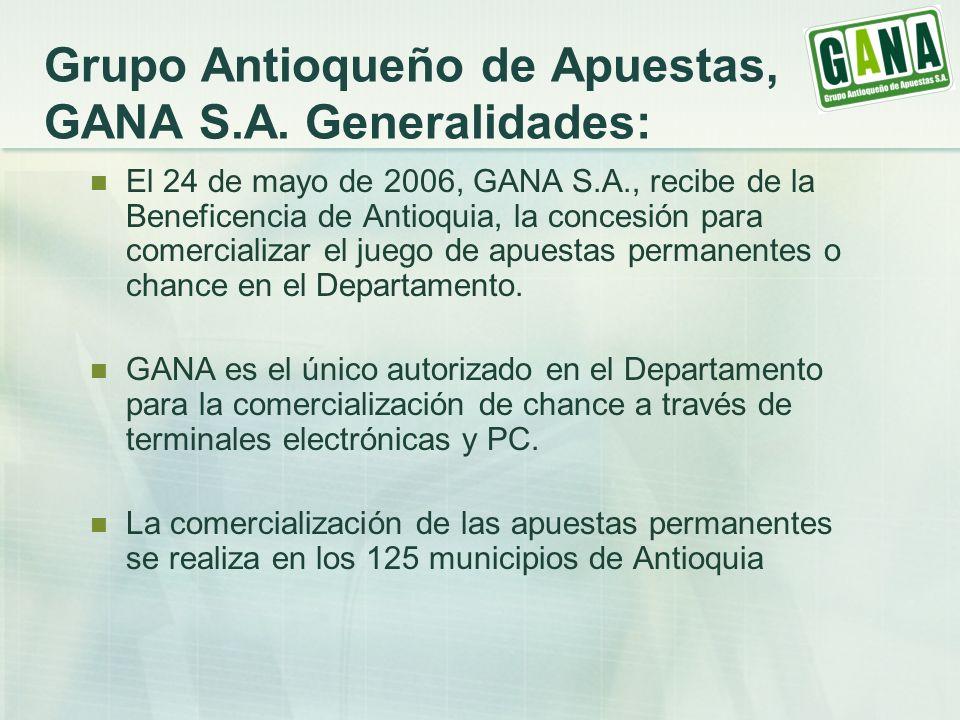 Grupo Antioqueño de Apuestas, GANA S.A. Generalidades: El 24 de mayo de 2006, GANA S.A., recibe de la Beneficencia de Antioquia, la concesión para com