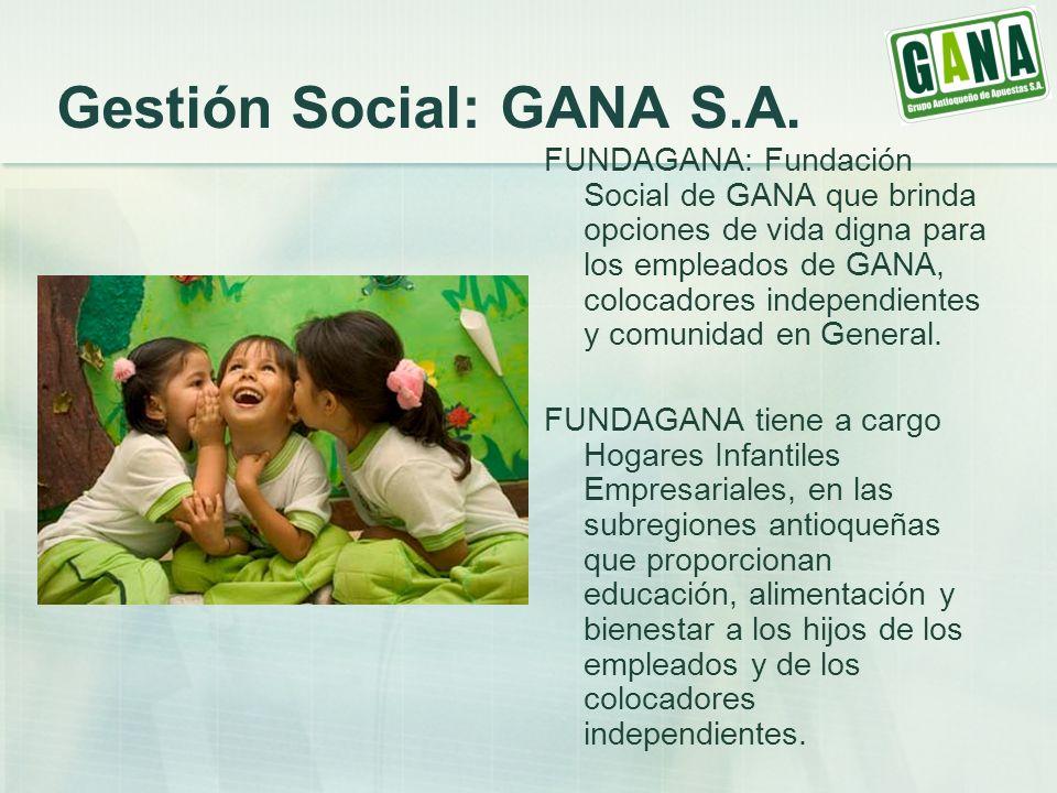 Gestión Social: GANA S.A. FUNDAGANA: Fundación Social de GANA que brinda opciones de vida digna para los empleados de GANA, colocadores independientes