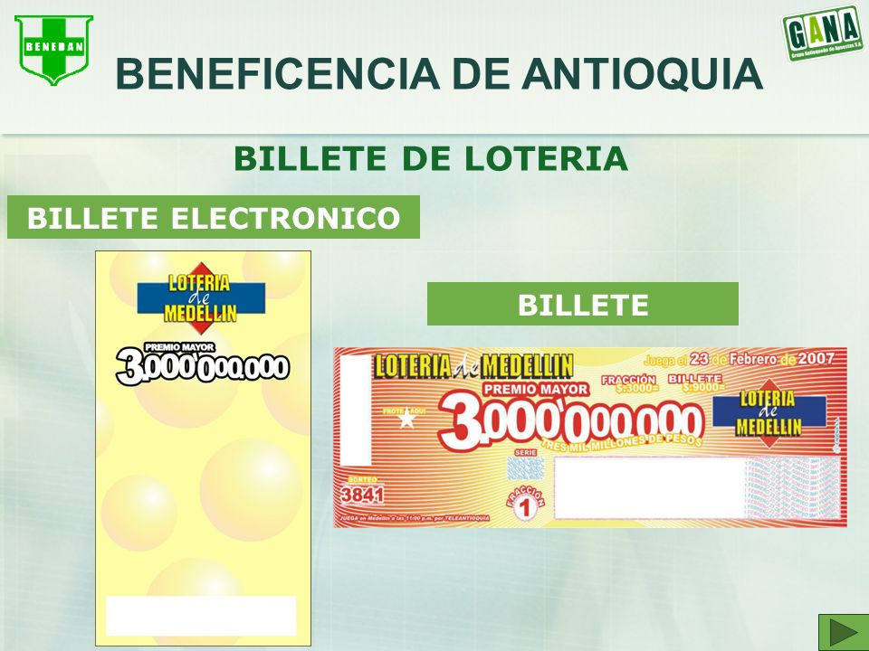 BILLETE DE LOTERIA BILLETE ELECTRONICO BILLETE BENEFICENCIA DE ANTIOQUIA