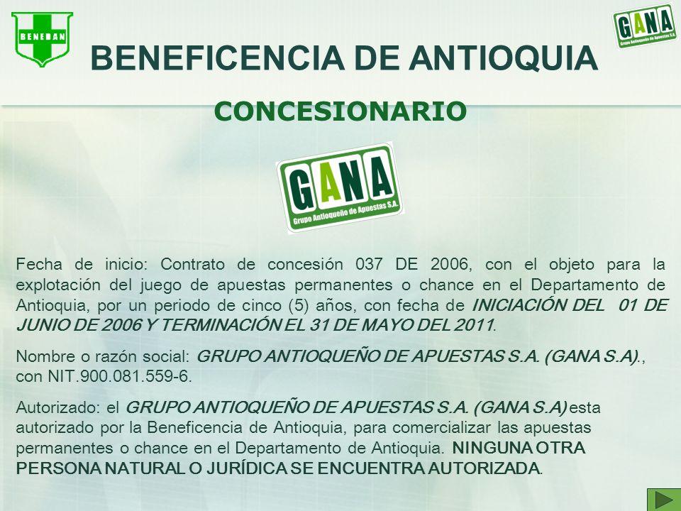 CONCESIONARIO Fecha de inicio: Contrato de concesión 037 DE 2006, con el objeto para la explotación del juego de apuestas permanentes o chance en el D
