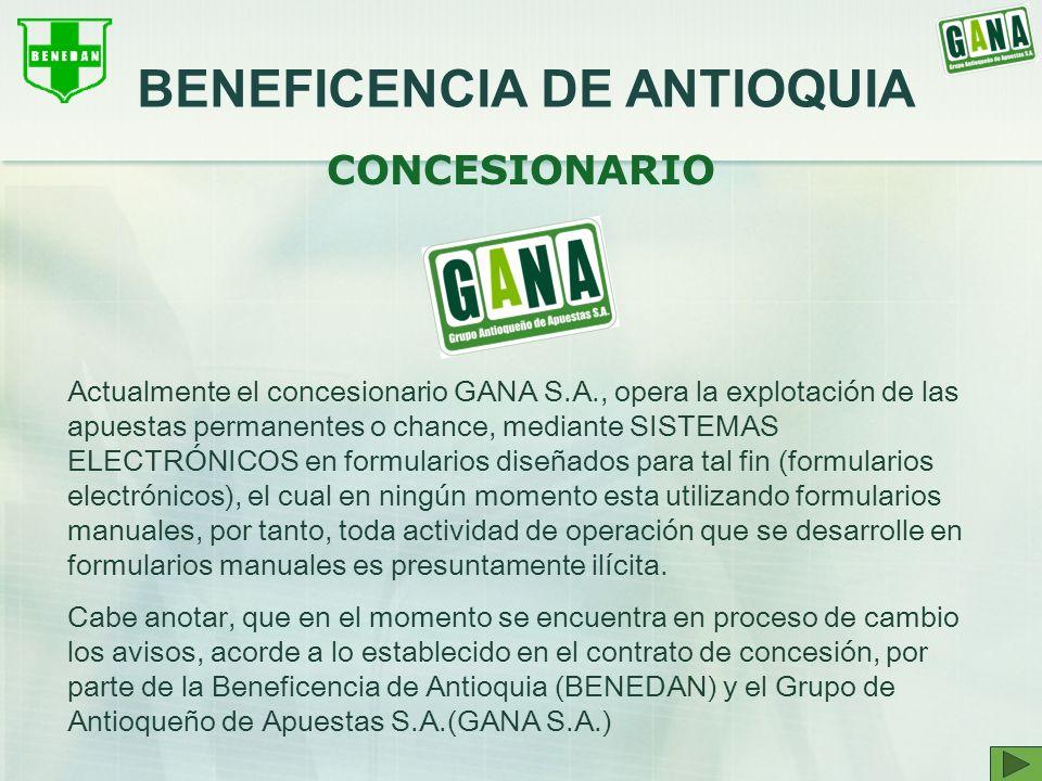 Actualmente el concesionario GANA S.A., opera la explotación de las apuestas permanentes o chance, mediante SISTEMAS ELECTRÓNICOS en formularios diseñ