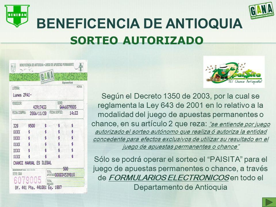 SORTEO AUTORIZADO Según el Decreto 1350 de 2003, por la cual se reglamenta la Ley 643 de 2001 en lo relativo a la modalidad del juego de apuestas perm