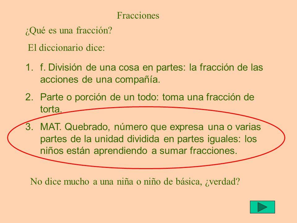 Fracciones 1.f. División de una cosa en partes: la fracción de las acciones de una compañía. 2.Parte o porción de un todo: toma una fracción de torta.