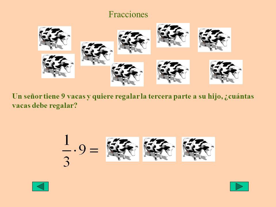 Fracciones Un señor tiene 9 vacas y quiere regalar la tercera parte a su hijo, ¿cuántas vacas debe regalar?