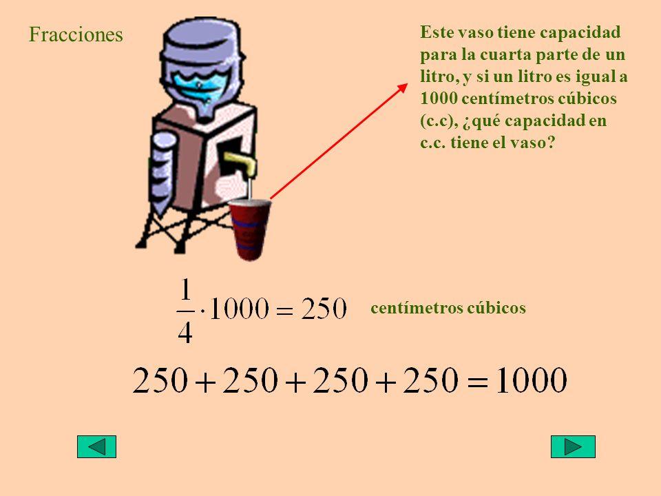 Este vaso tiene capacidad para la cuarta parte de un litro, y si un litro es igual a 1000 centímetros cúbicos (c.c), ¿qué capacidad en c.c. tiene el v