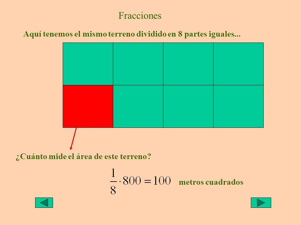 ¿Cuánto mide el área de este terreno? metros cuadrados Fracciones Aquí tenemos el mismo terreno dividido en 8 partes iguales...