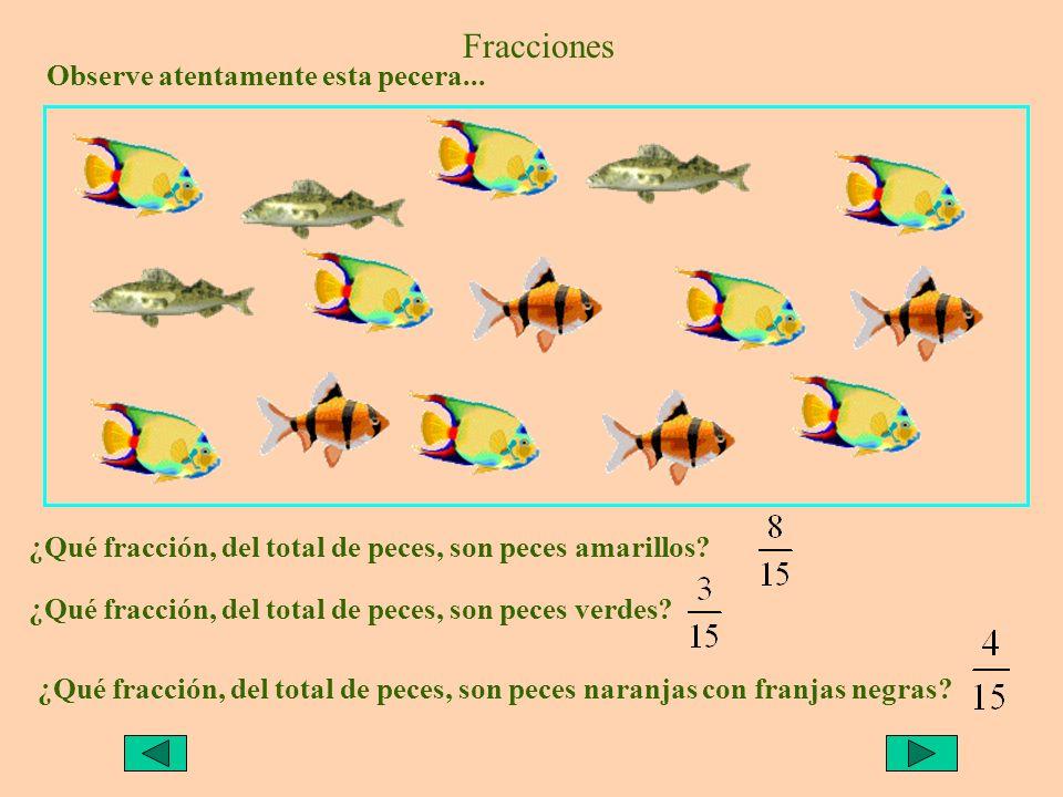 Fracciones Observe atentamente esta pecera... ¿Qué fracción, del total de peces, son peces amarillos? ¿Qué fracción, del total de peces, son peces ver